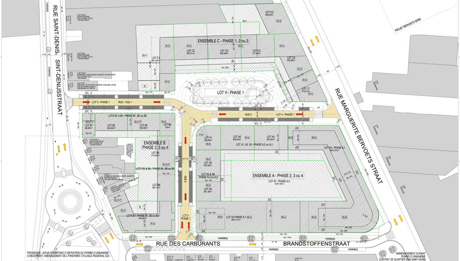 Plan de répartition des différents lots, des voiries et des bâtiments